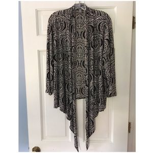 Chico's Travelers Cardigan Black White Ltwt 3 XL
